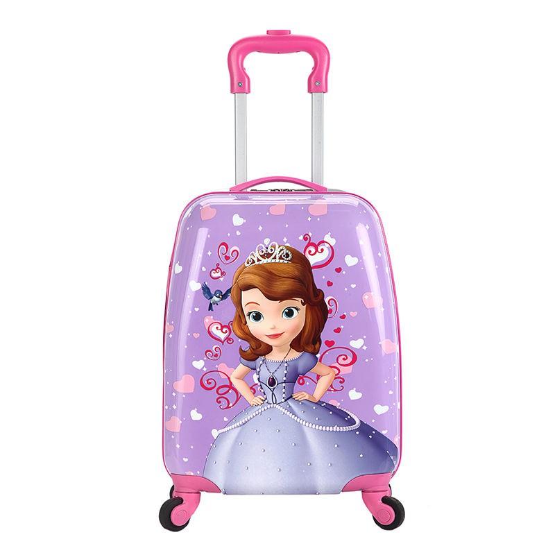 กระเป๋านักเรียนอนุบาลเด็กน่ารักการ์ตูนเจ้าหญิง 18 นิ้วเด็กนักเรียนชายและหญิงกระเป๋าเดินทางแบบกำหนดเองกระเป๋าเดินทางรถเข็