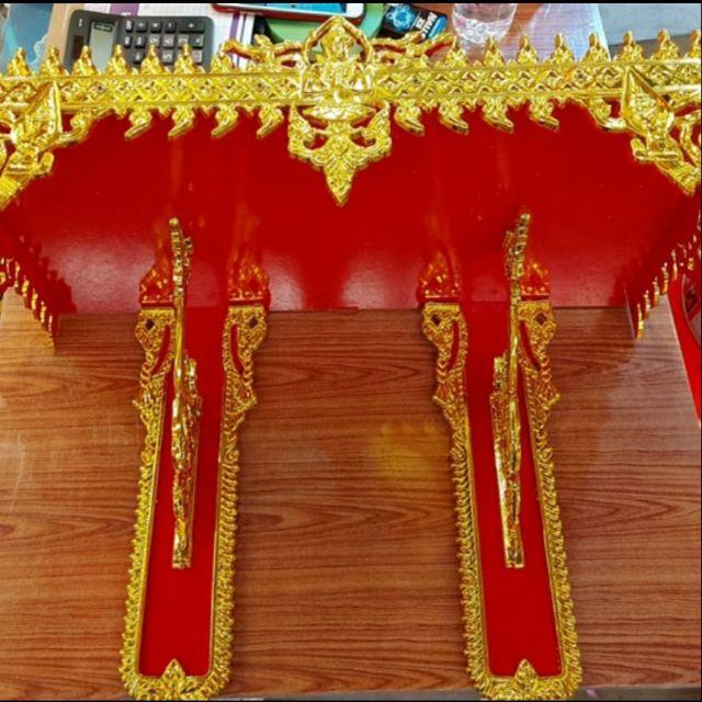 👉หิ้งพระ หิ้งพระลายไทย 2 ขา 22 ซม. สีแดงทอง  เกรด A ราคาโรงงาน