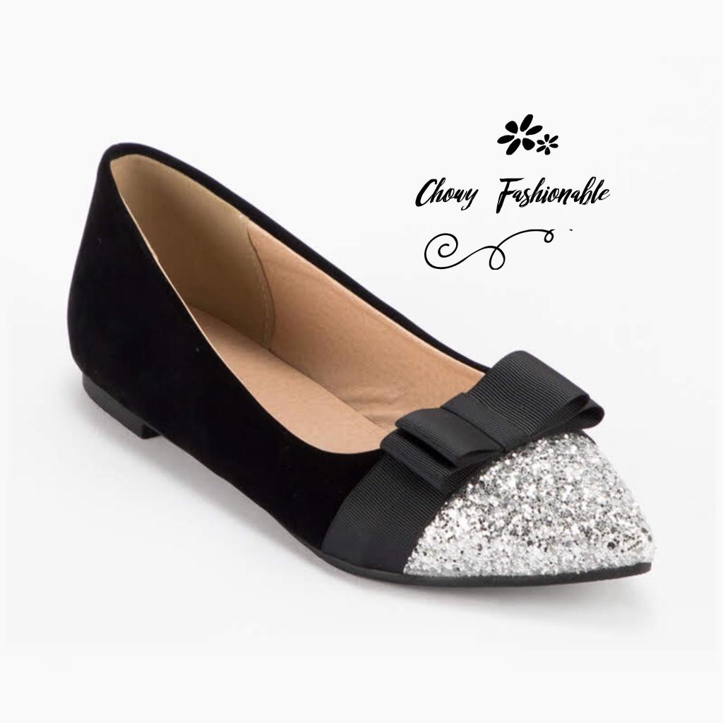 รองเท้าคัชชูส้นแบนไซส์ใหญ่ 41-46 Disco Bowtie กำมะหยี่ สีดำ รหัส KR0736 No Brand KR0736BL