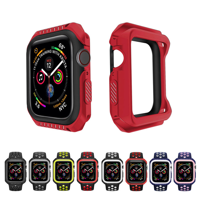 Apple Watch Case 38mm 40mm 42mm 44mm Watchcase Series SE 6 5 4 3 2 1 Silicone TPU Two-color Anti-Scratch iWatch Cover