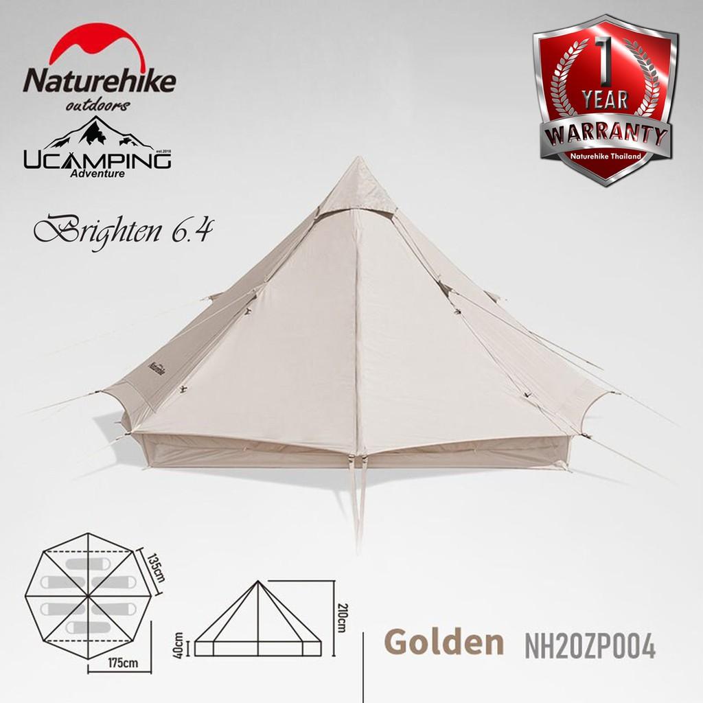 เต็นท์ กระโจมผ้าคอตตอน สำหรับ 2-4 คน Naturehike Cotton Tent Brighten 6.4 (รับประกันของแท้ศูนย์ไทย)