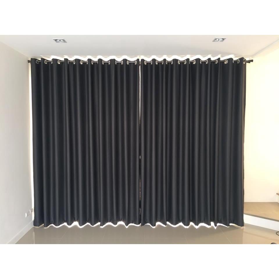 ผ้าม่านสำเร็จรูปกันแสงกันUV แบบตาไก่เจาะห่วง หน้าต่าง ประตู สีเทา/ สีเทาดำ / สีครีม / สีทอง /  สีน้ำตาล ขนาด 130*150/ 13