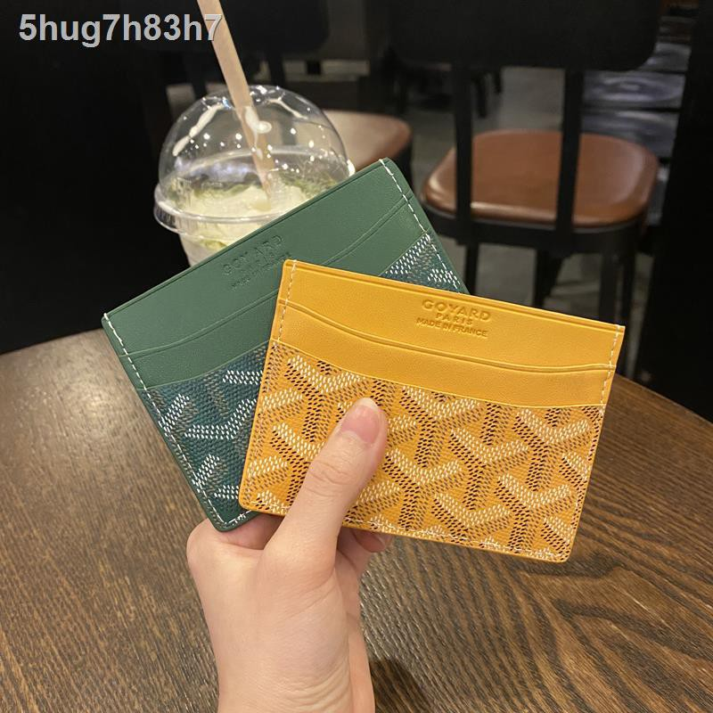 ราคาถูกGoya goyard card holder cowhide small dog tooth leather coin purse men and women wallet storage bag ID
