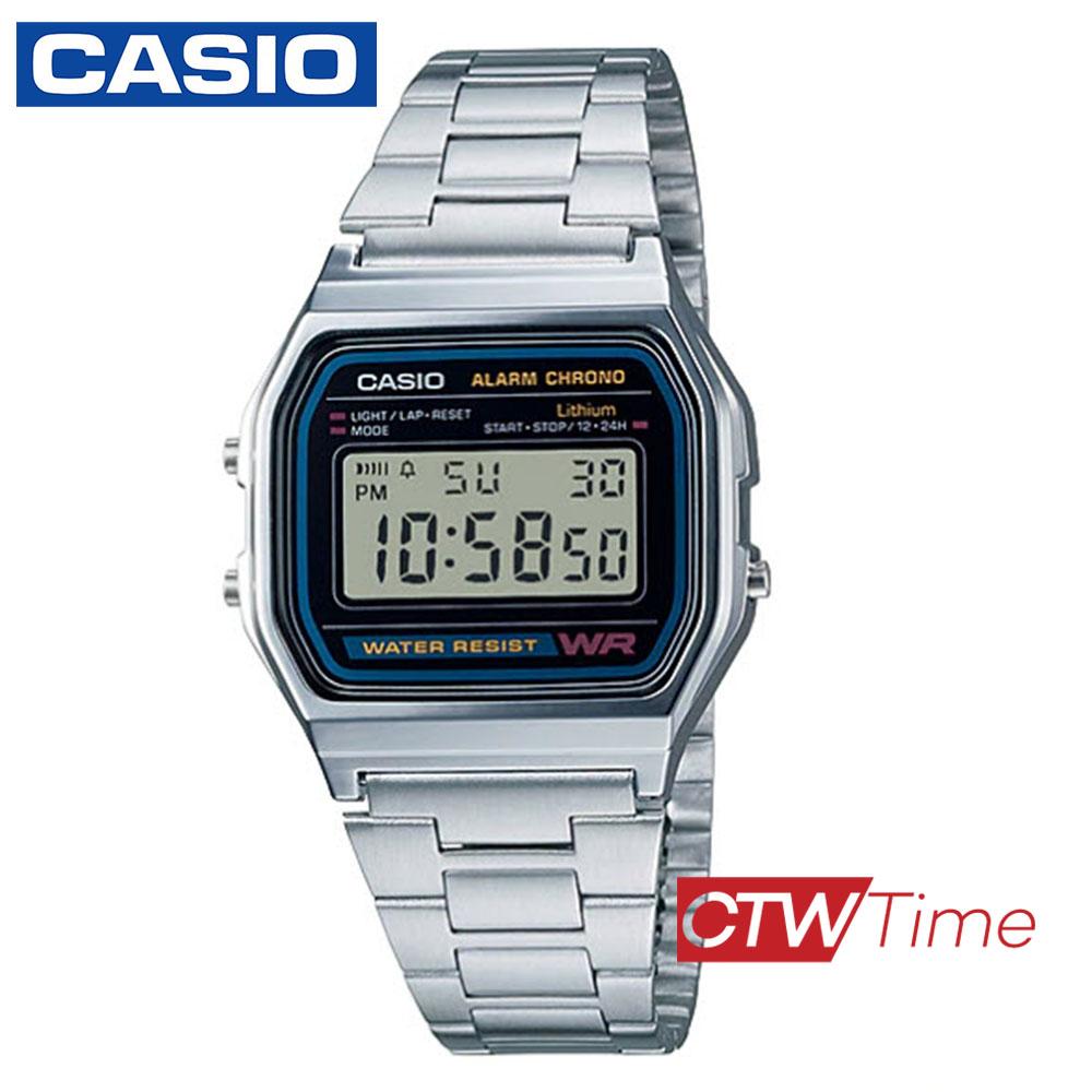 ส่งฟรี !! PRESALE Casio Digital Classic นาฬิกาข้อมือสุภาพบุรุษ สีเงิน สายสแตนเลส รุ่น A158WA-1DF ggFB