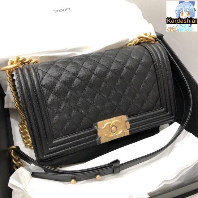 KardashianNew Chanel Boy Black Caviar Ghw Fullset