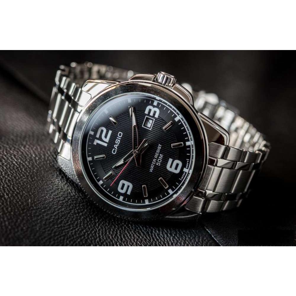 จัดส่งฟรีWin Watch Shop CASIO STANDARD นาฬิกาผู้ชาย สายสแตนเลส หน้าปัดสีดำ รุ่น MTP-1314D-1AV - มั่นใจ ของแท้ 100%