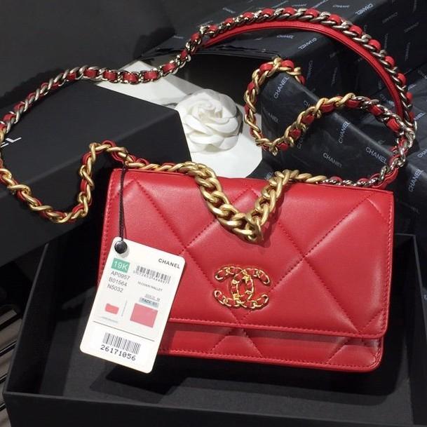 ต้นฉบับของแท้ 100% ของแท้ Chanel กระดาษ WOC โซ่กระเป๋ากระเป๋าสะพายกระเป๋าถือกระเป๋ามินิ 19K