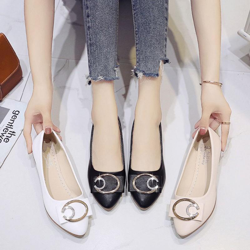 รองเท้าผู้หญิง🌷รองเท้าคัชชูเปิดส้น รองเท้าคัชชู หัวแหลม🌷รองเท้าแฟชั่นเกาหลี ใส่นิ่มสบายเท้า (บวกเพิ่ม1ไซส์)