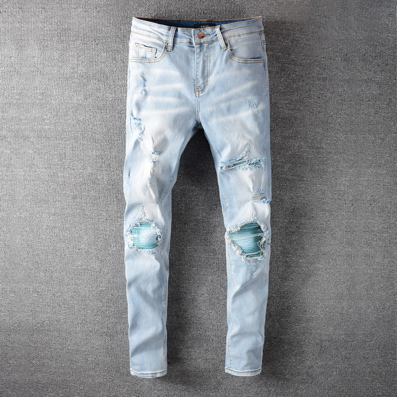 มีความยืดหยุ่นAMIRI Amiriบางกางเกงกางเกงยีนส์โคบาลรูปะประกบกัน amiri jeans